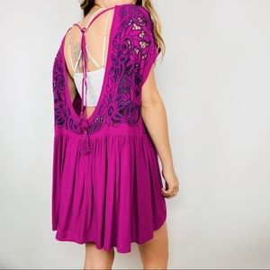Free People dark pink embroidered backless dress
